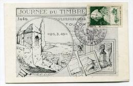 !!! JOURNEE DU TIMBRE DE TOULON 1949 CARTE LOCALE - Dag Van De Postzegel