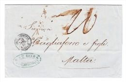Constantinople 31.7.1956 Sur Lettre Pour Malte Taxée 20cachet D'arrivée Au Dos - Turkey
