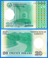 Tadjikistan 20 Dirams 1999 NEUF UNC Montagne Route Tajikistan Asie Asia Dirhams Dirams Dirham Skrill Paypal Bitcoin - Tajikistan