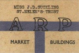 WW2 ARP Warden Card JD Suckling St Helen´s Trust Market Buildings War Air Raid Replica - Historische Dokumente