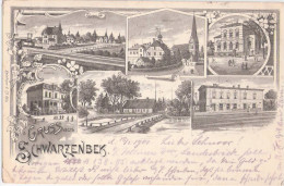 Gruss Aus Schwarzenbek Schwarz Weiss Litho Bahnhof Kirche Schloß Schule Sparkasse 18.7.1901 Gelaufen - Schwarzenbeck