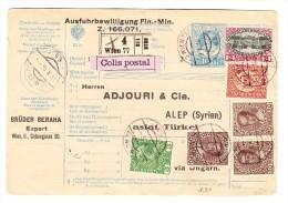 Paketkarte Wien 2.10.1916 Nach Alep Syrien - Briefe U. Dokumente