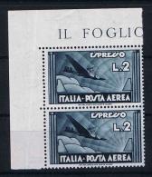 Italy:  1933  SA Ae 44, Mi Nr 435 MNH/** Corner Blok - Poste Aérienne