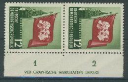 DDR Michel No. 346 ** postfrisch DV Druckvermerk / Rand gehangen, Fingerspuren