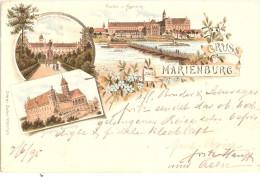 Marienburg Color Litho Vorläufer 9.6.1895 Autograf An Bruder Und Schwager Baron Von Koenig Warthausen B Ochsenhausen - Westpreussen