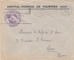HOPITAL HOSPICE DE FOURMIES AVEC PLAN AU DOS  CACHET VIOLET + CACHET FOURMIES 27.6.1963. - Frankobriefe