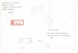 Albania 1996 Postage Paid Unfranked Registered Official Cover - Albanië