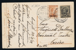 Italy, Levant Card From Constantinopel To Cairo, Egypt, Sa 37 + 42 In Combination, 1922 Innice Cancels - Bureaux Etrangers