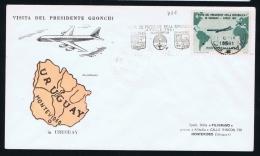 Italy, Visita Del Presidente Gronchi A Uruguay, Cancel From  Montevideo, Sa 919 - 6. 1946-.. Repubblica