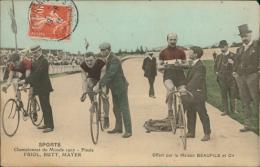 SPORT / CYCLISME / Championnat Du Monde 1907 - Finale FRIOL, RUTT, MAYER, Offert Par La Maison Beaufils Et Cie (COULEUR) - Cyclisme