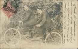 CYCLISME / TANDEM / BELLE CARTE PHOTO De Deux Hommes En Costumes Sur Un Tandem!! RARE! - Cyclisme