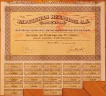 1969-PAPELERAS REUNIDAS. ALCOY. ALICANTE. ESPAÑA- ACCIÓN CON PARTE DE SUS CUPONES DEL AÑO 1969 - Industrial