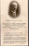 Avis De Decés  Monsieur Felix Bollaert  President Société Des Mines De Lens   Stade De Foot De Lens Porte Son Nom - Décès
