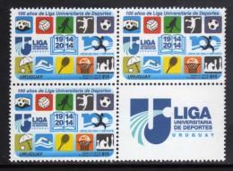 URUGUAY 2014 SERIE[2x2] with LABEL (Soccer, Swimming, Basketball, Sport, Chess, Horse; F�tbol, Tenis, Deporte, Ajedrez)