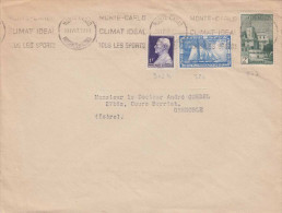 MONACO 1949 - 3 Fach Frankierung Auf Brief Nach Grenoble - Briefe U. Dokumente