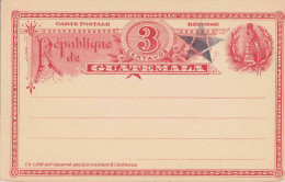 GUATEMALA 1897 - 2 X 3 Centavos Ganzsache ** Auf Doppelkarte (3 Scan) - Guatemala
