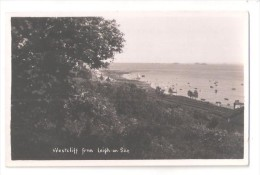 RP WESTCLIFF ON SEA FROM LEIGH ON SEA RAILWAY LINE ? & DISTANT SHIPS UNUSED ESSEX PHOTO CARD - Southend, Westcliff & Leigh