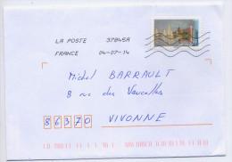 """2014--tp Adhésif Du Carnet """"Peintres""""--Claude Monet--Régates à Argenteuil--seul Sur Lettre-- - Marcofilie (Brieven)"""