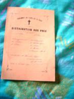 DISTRIBUTION   DES   PRIX   PENSIONNAT DES  DAMES DE LA CROIX  LAVAUR   81  25 JUILLET  1908 - Diplômes & Bulletins Scolaires