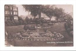 Westcliff-on-Sea Carpet Bedding Promenade Flowers Old Real Photo Postcard + Machine Gun ? War Related Anti Air Gun ? - Southend, Westcliff & Leigh