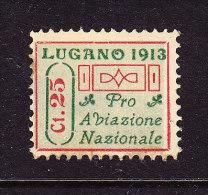 SWITZERLAND, SUISSE ZUMSTEIN IX AIRMAIL FORERUNNER 1913, 25 Cts LUGANO, ( LOT 1027) - Nuovi