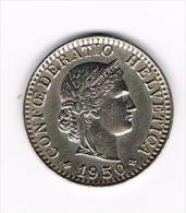 ¨ ZWITSERLAND  20 RAPPEN  1950 - Suiza