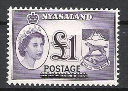 Nyasaland 1963 Definitive Over-prints MNH CV £17.85 (2 Scans) - Malawi (1964-...)