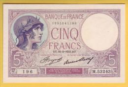 BILLET FRANCAIS - 5 Francs Violet 16.2.1933  Neuf - 1871-1952 Anciens Francs Circulés Au XXème