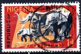 NIGERIA 1965 African Elephants - 1d. - Multicoloured  FU - Nigeria (1961-...)