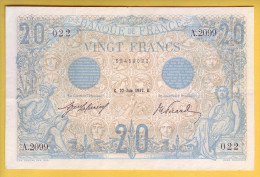 BILLET FRANCAIS - 20 Francs Bleu 27.6.1912 SUP+ - 1871-1952 Circulated During XXth