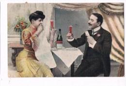 22611 ( 2 Scans ) Femme Et L´homme De Boire Du Champagne - Woman And Man Drinking Champagne - Donne