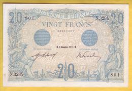 BILLET FRANCAIS - 20 Francs Bleu 2.12.1912 TTB+ - 1871-1952 Anciens Francs Circulés Au XXème
