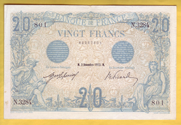 BILLET FRANCAIS - 20 Francs Bleu 2.12.1912 TTB+ - 1871-1952 Circulated During XXth