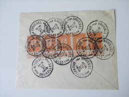 Belgien 1912 / 1913 Nr. 89 Als Mehrfachfrankatur Auf Briefstück / Briefrückseite 12 Stempel / Twelve Cancels! - Belgien