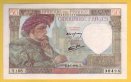 BILLET FRANCAIS - 50 Francs Jacques Coeur 8.1.1942 SPL - 50 F 1940-1942 ''Jacques Coeur''