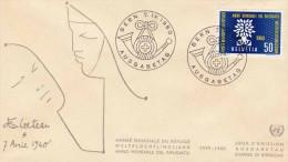 SCHWEIZ 1960, Schöne 50 C Frankierung Auf FDC-Brief Weltflüchtlingsjahr