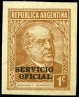 """Argentina Scott #O37 Proof. Sarmiento 1 Centavo Bistre-brown, Imperforate Proof On """"M"""" Paper. Very Fine. - Argentina"""