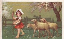 BUONA PASQUA (COLOMBO) BAMBINA ,PECORE VIAGGIATA X BORGHETTO S.SPIRITO-ORIGINALE D'EPOCA 100% - Easter