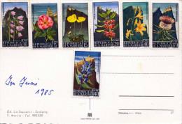 SAN MARINO 1985 - 7 Sondermarken Floral Auf Ak Republica Di S.Marino, Scalette - San Marino