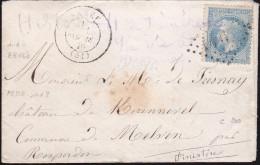 France - Lettre N° 29 Obl. - 1870 - GC 1407 Ernée / Bureau De Passe 1987 / Rosporden Pour Melven - 1849-1876: Période Classique