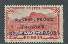 """R�union PA n� 1 X Timbre surcharg� R�union-France par avion """"Roland Garros"""" infime trace de charni�re sinon  TB"""