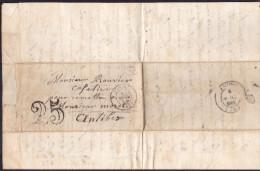 France - Sur Lettre Taxée Obl. - 1851 - CaD Paris / Antibes - Postmark Collection (Covers)