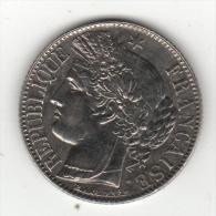 1 Franc 1887-A UNC  France Silver Acet Paypal Escassa Neste Estado - Frankrijk