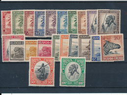 RUANDA-URUNDI 1942 ISSUE COB 126/147 LH