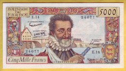 BILLET FRANCAIS - 5000 Francs Henri IV 6.6.1957 TTB+ - 1871-1952 Anciens Francs Circulés Au XXème