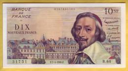 BILLET FRANCAIS - Lot De 2 Billets 10 NF Richelieu 7.4.1960 SPL - 1959-1966 Nouveaux Francs