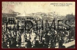 ABRANTES - PRAÇA DA REPUBLICA - EM DIA DE FORMATURA MILITAR - 1910 PC - Santarem