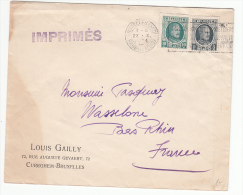 BELGIUM USED COVER 27/10/1924 COB 193 & 194 BRUXELLES VERS WASSELONNE FRANCE - 1922-1927 Houyoux