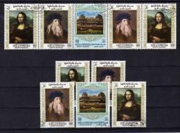 Gemälde Aus Dem Louvre Paris Südarabien Yafa 23/27+ ZD+ Kleinbogen O 25€ Mona Lisa Von Leonardo Da Vinci - Abu Dhabi