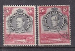 Kenya Uganda Tanganyika Geroge VI, 1944 5/=, P 13.25 X 13.75, Used, X 2 , Dark Print, Light Print - Kenya, Uganda & Tanganyika